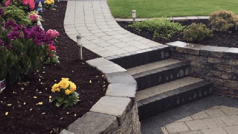 Grey paved garden steps